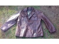 BROWN LEATHER RIVER ISLAND MANS MEDIUM JACKET