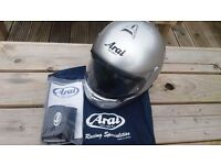 Arai motorbike helmet, silver, size XS, excellent condition