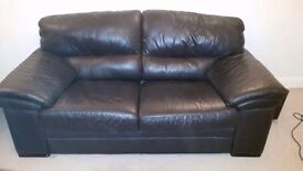 Brown Leather 2 Seater Sofa Great Condition