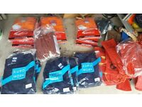 23 pairs of overalls varios sizes and colours all unused. Gauntlets plus rubber gloves all unused.
