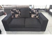 2 SEATER LARGE DESIGNER SOFA BLACK FABRIC WITH SCATTER BACK CUSHIONS **CAN DELIVER**