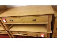 2 drawer coffee table - wood (metal handles)