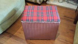 Vintage Retro Lloyd Loom Laundry Basket Ottoman Linen Basket Toy Box Seat