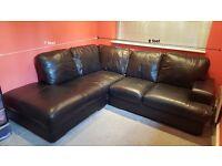 Black Leather L-shaped Corner Sofa - Excellent Condition