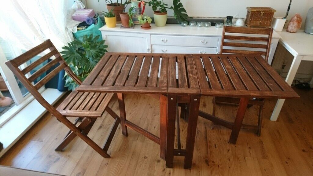 Wooden folding garden table and chairs Ikea Applaro | in Camden, London | Gumtree