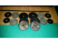 Barbell and 44kg weights