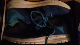 Blue with black stripes Adidas running Adiprene+ size 10 .