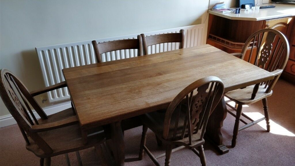 solid oak farmhouse kitchen table 140 cm and 5 solid oak