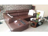 Eco leather corner sofa bed