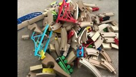 Large amount wooden train track