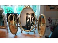 DRESSING TABLE MIRRORS, MIDDLE MIRROR SWING ADJUSTABLE FOR DESIRED REFLECTION AREA, 2 SIDE MIRRORS