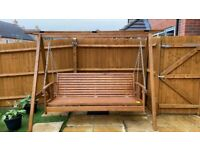 Brand New Deluxe 3 Seater Wooden Garden Outdoor Swing Chair Seat Hammock Bench Lounger for Sale