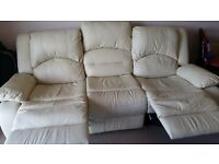 Cream leather sofa and armchair for sale