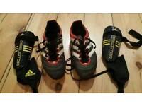 For sale are Adidas football boots and Adidas Predator shinguards.
