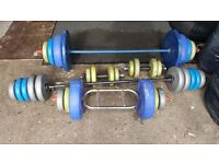 gym weights and bars