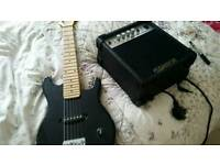 Half size elec guitar and amp