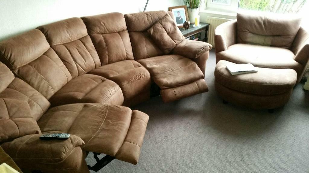 Elegant Electric recliner corner sofa & large swivel chair in tan nubuck leather Review - New nubuck leather sofa Lovely