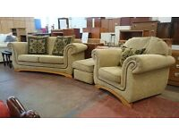 2 seater sofa with armchair and pouffe (delivery available)