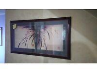 Painting. Dark wood frame. Bamboo print