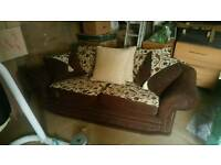 Brown and cream 3 seater sofa