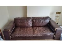 Large 3/4 seater Dfs brown leather sofa