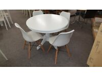 Ace Circular Solid Wood Dining Table & 4 Kari Dining Chair White & Oak Can Deliver