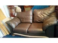 BROWN LEATHER SOFA. VERY SOFT AND COMFY
