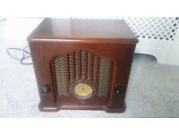GE Model 7-4135A Wood Cabinet FM Radio Tape Player
