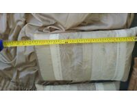 Beige satin type curtains with two matching cushions (from Dunelm Mill) good condition