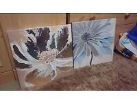 Pair of flower wall canvases