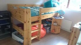 Pine mid cabin bedand furniture