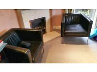 Leather chairs and matching footstool