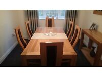 Solid Oak dining room table (6ft) with six oak/leather chairs