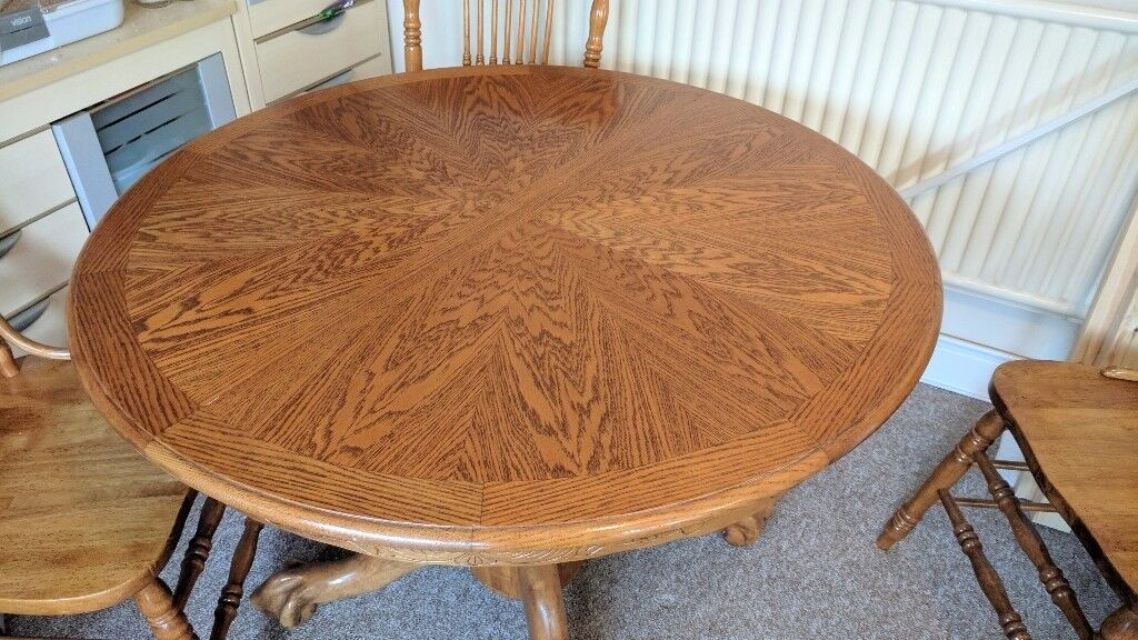Solid Oak Extending Table and 4 Chairs