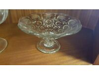 Small Circular-patterned Glass Cake Stand in Good Condition
