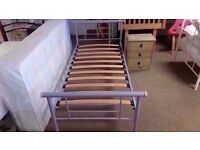 GREAT CONDITION! 3ft metal bed frame single bed ex-display/floor model wooden slats