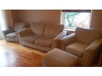 2 seater sofabed 2 armchairs and pouffe