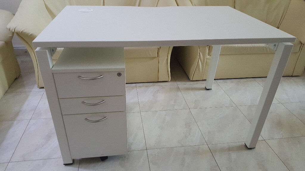 White Office Desk with drawer