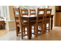 Farmhouse kitchen dining table and six chairs