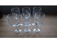 Set of 6 Vintage Wine Glasses