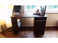 FREE desk - dark mahogany appearance perfect for personal office / bedroom , drawers and shelves