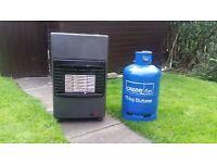 DeLonghi portable gas fire & empty bottle --- £50