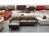 Ex-display Nevada antique grey leather chaise corner sofa