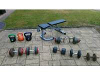 Weights and weight bench kettlebell set