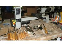 Complete small wood lathe with chisles Nova 4 jaw chuck books etc