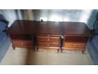 WOODEN BEDSIDE CABINET WITH DRAWER AND STORAGE CUPBOARD SET OF 3
