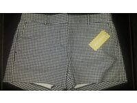 BNWT Michael Kors Navy and White Gingham Shorts (UK Size 10)