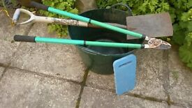 £5 job lot bundle garden tools 40L trug lopping shears shovel spade 20m weed control fabric