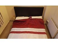 Double Bed with faux leather headboard and memory foam mattress