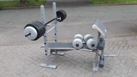 DOMYO FOLDAWAY BENCH WITH 53G WEIGHTS WITH ARM & LEG CURL & BARS